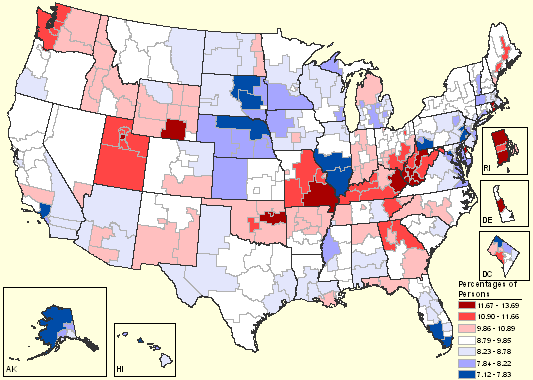 Map of serious psychological distress among persons 18 and older