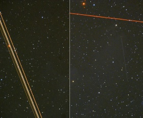 Airplane and satellite trails